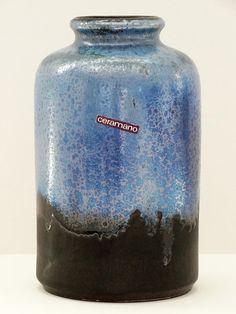 Ceramano Mid Century Saturn Dark Brown & Metallic Blue and Silver West German Vase