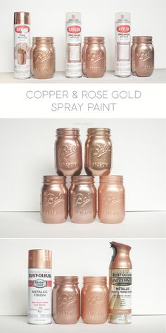Rust-oleum Too! - KA Styles Krylon White Copper, Dusty Pink and Foil Metallic Copper. Rust-oleum Too!Krylon White Copper, Dusty Pink and Foil Metallic Copper. Rust-oleum Too! Pot Mason Diy, Mason Jar Crafts, Glitter Mason Jars, Crafts With Jars, Pink Mason Jars, Mason Jar Vases, Copper Spray Paint, Metallic Copper Paint, Pink Spray Paint