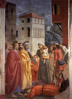 Masaccio - Affresco de La distribuzione dei beni e la morte di Anania, 1424-25. Firenze, S. Maria del Carmine, Cappella Brancacci.