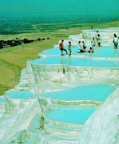 "Natural Infinity Pool - Pamukkale, Denizli, Turkey Pamukkale, meaning ""cotton castle"" in Turkish, is a natural site in Denizli Province in southwestern Turkey"