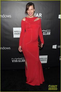Milla Jovovich  wearing Donna Karan at amfAR Gala!