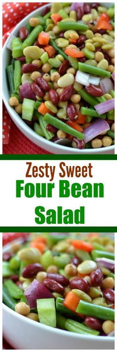 Thisdelectable Zesty Sweet Four Bean Salad is a cinch to put together and you can use any four kinds of beans that you like.