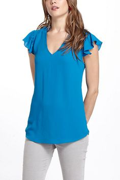 Blue Small-4 Ruffle Sleeve Blouse #anthropologie