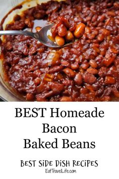 Better with bacon! Homemade baked beans with bacon? We have easy to follow instructions on how to make delicious baked beans with bacon. #baconbeans #homemadebakedbeans #bestbakebeans #howtomakebakedbeans #easybakedbeans #baconrecipes #bacon #bestsidedish #summerfood #sidedish Easy Baked Beans, Baked Beans With Bacon, Homemade Baked Beans, Best Side Dishes, Side Dish Recipes, Bacon Recipes, Vegetable Recipes, Summer Recipes, Stuffed Peppers