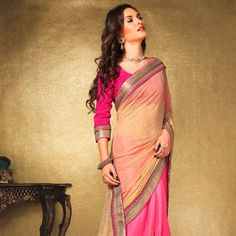 #Pink #ChiffonSaree with Blouse