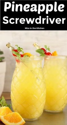 Pineapple screwdriver cocktails are super simple to make! easy to mix up by the glass or the pitcher with pineapple juice orange juice and vodka great for get togethers with friends game day gatherings or your next cocktail party cherry moon Beach Cocktails, Summer Drinks, Cocktail Drinks, Fun Drinks, Easy To Make Cocktails, Easy Vodka Drinks, Painkiller Cocktail, Wine Cocktails, Mix Drinks With Vodka