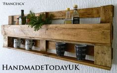 Rustic Industrial Kitchen Organiser Shelf Unit with Cup Holder