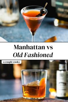 Manhattan vs Old Fashioned: what's the difference between these iconic whiskey cocktails? Here's what you need to know. | alcoholic drinks | drinks | cocktails | whiskey cocktails | whisky cocktails | bourbon cocktail | rye whiskey cocktail recipes | manhattan cocktail | old fashioned recipes cocktail | #manhattan #oldfashioned #cocktail #classiccocktail Classic Cocktails, Best Whiskey Cocktails, Champagne Drinks, Best Cocktail Recipes, Refreshing Cocktails, Fun Cocktails, Classic Old Fashioned Recipe, Whiskey Old Fashioned, Old Fashioned Recipes