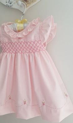Stunning baby pink hand smocked baby dress with beautiful hand embroidery Baby Dress Patterns Baby Beautiful Dress Embroidery hand Pink smocked Stunning Baby Girl Dress Patterns, Baby Dress Design, Frock Design, Skirt Patterns, Coat Patterns, Sewing Patterns, Blouse Patterns, Clothes Patterns, Girls Smocked Dresses