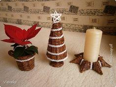 Поделка изделие Рождество Плетение Мой рождественный наборчик - My little Christmas set Бумага газетная Трубочки бумажные фото 1