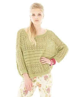 Knit this womens slouchy lace sweater from Rowan Knitting & Crochet Magazine 53, a design by Ruth Green using the gorgeous dry handle yarn Creative Linen (cotton and linen). With a stunning lace stitch pattern, drop shoulder and ¾ length sleeves, this knitting pattern is for the intermediate knitter.