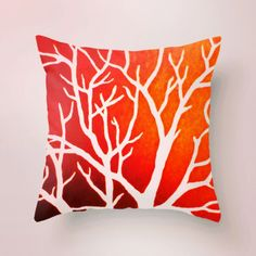 """My """"Blazing Trees"""" #design is making a comeback on @society6!  #morganralston #Society6 #pillows #Canada #trees #home #decor #style #red"""