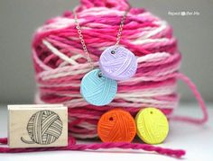 Repeat Crafter Me: Stamped Clay Yarn Ball Charm. Too cute and easy to make!