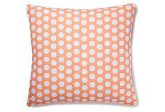 Polka Dot 20x20 Cotton Pillow, Coral on OneKingsLane.com