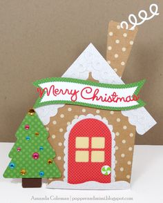 Popper and Mimi: Gingerbread House Shaped Card