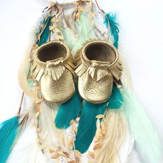 Baby Moccasins Gold Metallic Soft Sole Shoes by WildExplorers, $29.00