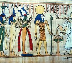 Le défunt face aux déesses Isis et Nephtis et aux dieux Osiris et Horus. Peinture acrylique sur papyrus véritable, Christine Monsion