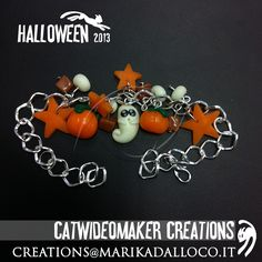 Ideas for Halloween! Fimo, beads and polymerclay creations with ghosts and pumpkins! Bracelets, earrings: all handmade!