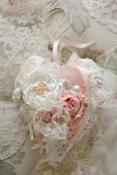 Beautiful Handmade Ribbon Work Floral Heart by Jenneliserose