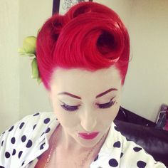 Bright red victory rolls and fringe roll!