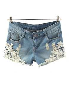 Washed Denim Short with Crochet Lace Flower Details
