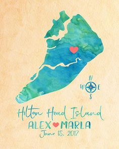 Hilton Head Island South Carolina Wedding Map Personalized