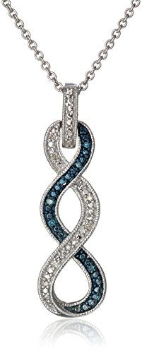 $40.96 Sterling Silver Blue and White Diamond Twist Pendant Necklace - http://freebiefresh.com/sterling-silver-blue-and-white-diamond-review-2/