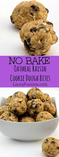 Healthy No Bake Oatmeal Raisin Energy Bites