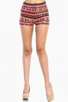 OMG Sequin Indian Pattern Short - Pink