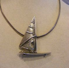 Wrought Sterling 800 Windsurfing SAILBOAT PENDANT NECKLACE SAILING Regatta #Handcrafted #Pendant Sailing Regatta, Arrow Necklace, Pendant Necklace, Sterling Necklaces, Windsurfing, Necklace Price, Sailboat, Great Gifts, Sterling Silver