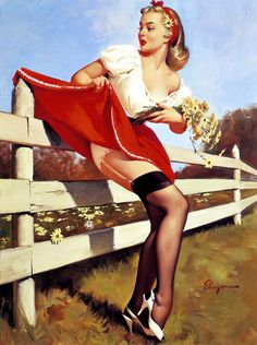 Gil Elvgren - vintage pin up art. Famous painter of pin up girls, advertising and illustration Gil Elvgren Art Books: More . Pin Up Vintage, Retro Pin Up, Vintage Art, Vintage Cowgirl, Pinup Art, Gil Elvgren, Pin Up Illustration, Moda Pin Up, Top Image