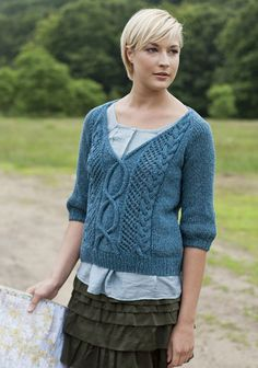 Sweater #Knitting Pattern - A winding cable pattern travels across the front of this v-neck pullover with elbow-length sleeves
