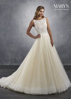 82ca71c9de07 Dreamy A-line ball gown wedding dress with a sheer crocheted lace bodice