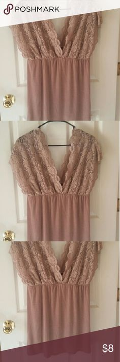 Dots, Dark beige lacy top. 2X Dots, Dark beige,  lacy top. 2x. Looks great with big boobs. If you are on the smaller cup size, you must wear a shirt underneath.  Smoke-free home. Dots Tops Blouses
