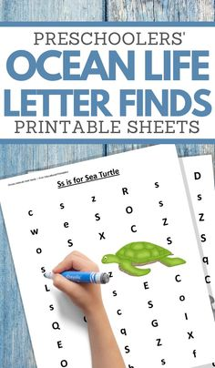 These Ocean Animals Letter Find Worksheets are part of our ocean animals unit study!   They will help your Preschooler and up aged children work on improving their letter recognition skills. #preschoolworksheets #underthesea #oceananimalsunitstudy #freeprintables #3boysandadog