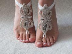 ivory peaarl Beach wedding barefoot sandals | ByVivienne - Wedding on ArtFire