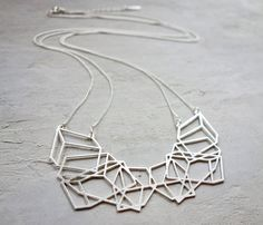 Long Composition Necklace Geometric necklace by shlomitofir
