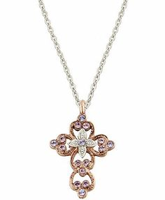 Vatican Necklace, Rose Gold-Tone Crystal Cross Pendant