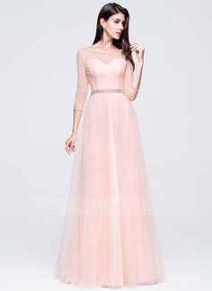 A-Line/Princess Scoop Neck Floor-Length Tulle Prom Dress With Ruffle Beading Sequins (018070389)