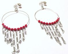4 1/2 Silver Plated Pink Beaded Chained Dangle Hoop by ADKOR, $5.99