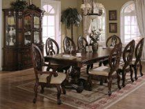 This Windham Dining Room Set by Crown Mark is made of hardwood solids and veneers in a beautiful cherry finish. This rich set includes a table, two arm chairs, four side chairs, as well as, buffet and hutch. Formal Dining Tables, Glass Dining Room Table, Dining Room Furniture Sets, Dining Table Chairs, A Table, Dining Set, Dining Rooms, Dark Furniture, Living Furniture