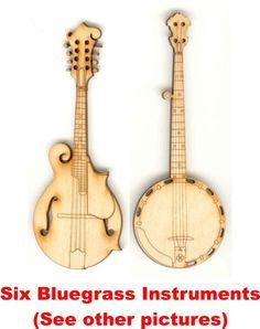 Set of Six Bluegrass Music Magnets Laser Cut
