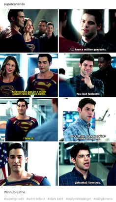 """The bromance is real😂 Winn fangirling over Superman is the best! Jeremy said something like, """"Winn is who all of us would be if we were in his situation."""" Winn is all of us. Supergirl Superman, Supergirl 2015, Supergirl And Flash, Superhero Shows, Superhero Memes, Arrow Flash, Cw Dc, Dc Tv Shows, Netflix"""