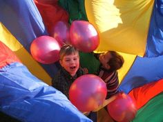 Parachute game with balloons