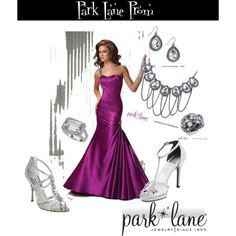 Prom, created by parklanejewelry on Polyvore  Park Lane Jewelry featured: Luminous Necklace & Earrings, Mesmerized ring & Striking ring