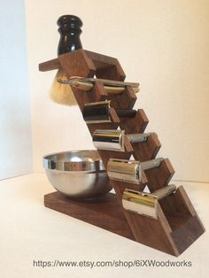 Walnut 5 Razor Display/Shaving Stand by 6ixWoodworks on Etsy