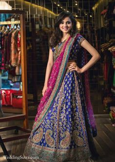 A Ritu Kumar Lehenga in Royal Blue paired with a Pink dupatta at WeddingSutra on Location #WeddingSutraP2W