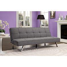 DHP Zoe Convertible Futon Sofa Bed (Grey Linen)