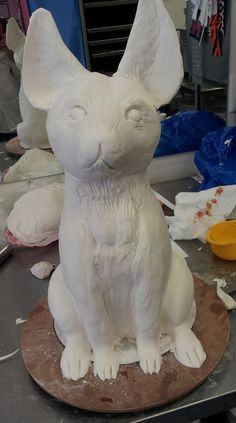Sculpting a dog-shaped cake