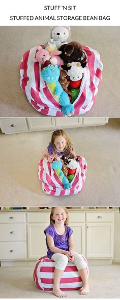 Stuffed Animals taking over your home!? Declutter + organize your kids' stuffed animals with a Stuff 'n Sit Stuffed Animal Storage Bean Bag! Tidying up has never been more fun!
